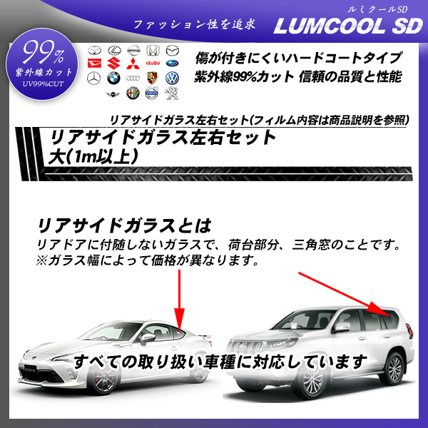 リアサイドガラス左右セット大(1m以上) 全車種対応 ルミクールSD 部位別単品 カーフィルム カット済み UVカット スモークの詳細を見る