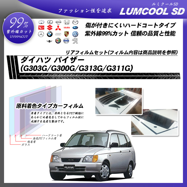 ダイハツ パイザー (G303G/G300G/G313G/G311G) ルミクールSD カーフィルム カット済み UVカット リアセット スモークの詳細を見る