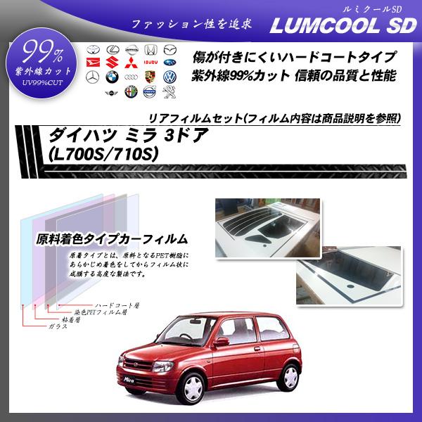 ダイハツ ミラ 3ドア (L700S/710S) ルミクールSD カーフィルム カット済み UVカット リアセット スモークの詳細を見る