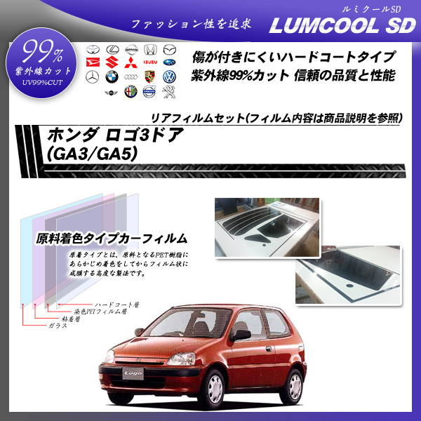 ホンダ ロゴ 3ドア (GA3/GA5) ルミクールSD カット済みカーフィルム リアセットの詳細を見る