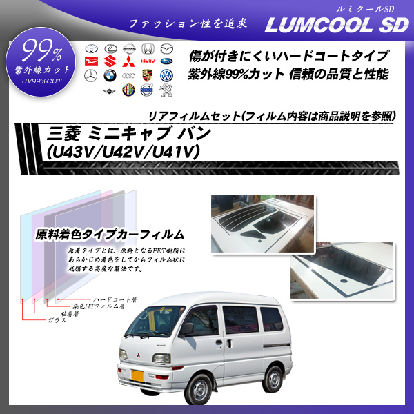 三菱 ミニキャブ バン (U43V/U42V/U41V) ルミクールSD カット済みカーフィルム リアセット
