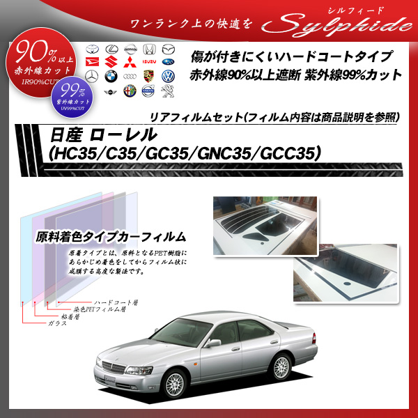 日産 ローレル (HC35/C35/GC35/GNC35/GCC35) シルフィード カーフィルム カット済み UVカット リアセット スモーク