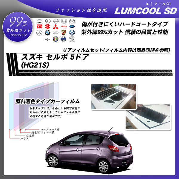 スズキ セルボ 5ドア (HG21S) ルミクールSD カット済みカーフィルム リアセットの詳細を見る