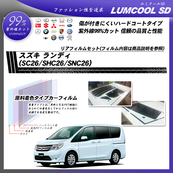 スズキ ランディ (SC26/SHC26/SNC26) ルミクールSD カット済みカーフィルム リアセットの詳細を見る