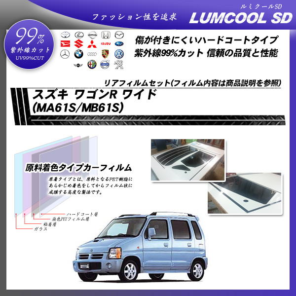 スズキ ワゴンR ワイド (MA61S/MB61S) ルミクールSD カーフィルム カット済み UVカット リアセット スモークの詳細を見る