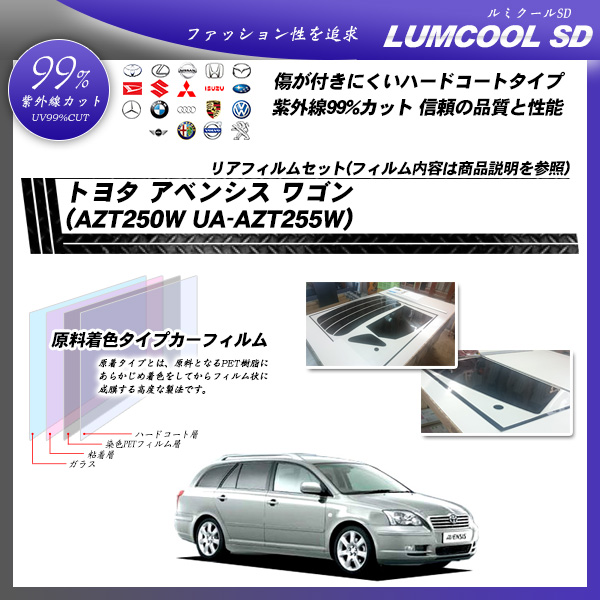 トヨタ アベンシス ワゴン (AZT250W UA-AZT255W) ルミクールSD カット済みカーフィルム リアセットの詳細を見る