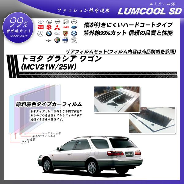トヨタ グラシア ワゴン (MCV21W/25W) ルミクールSD カーフィルム カット済み UVカット リアセット スモークの詳細を見る