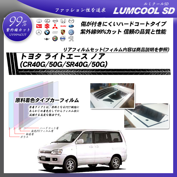 トヨタ ライトエース ノア (CR40G/50G/SR40G/50G) ルミクールSD カーフィルム カット済み UVカット リアセット スモークの詳細を見る