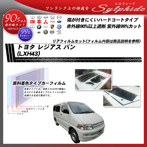 トヨタ レジアス バン (LXH43) シルフィード カーフィルム カット済み UVカット リアセット スモークの詳細を見る