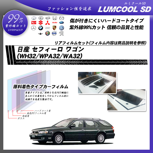 日産 セフィーロ ワゴン (WH32/WPA32/WA32) ルミクールSD カーフィルム カット済み UVカット リアセット スモークの詳細を見る