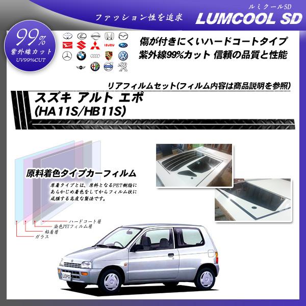 スズキ アルト エポ (HA11S/HB11S) ルミクールSD カーフィルム カット済み UVカット リアセット スモークの詳細を見る