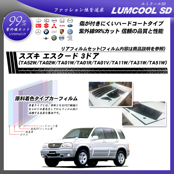 スズキ エスクード 3ドア (TA52W/TA02W/TA01W/TA01R/TA01V/TA11W/TA31W/TA51W) ルミクールSD カーフィルム カット済み UVカット リアセット スモークの詳細を見る