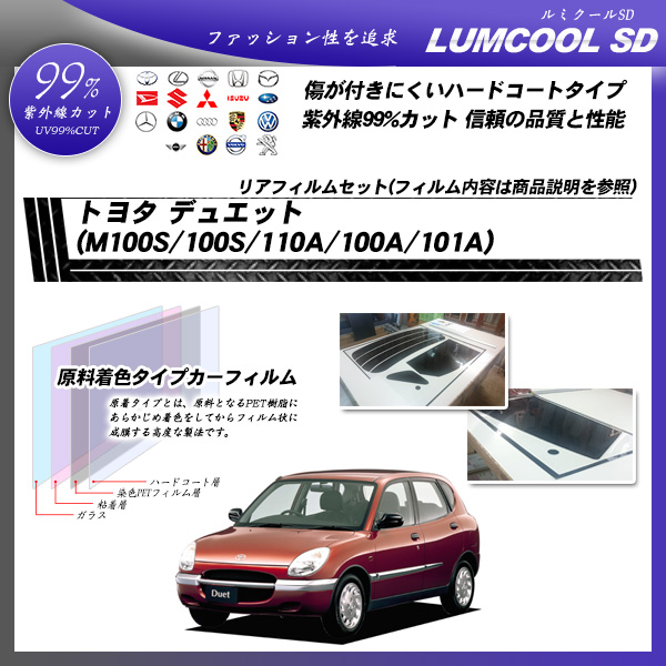トヨタ デュエット (M100S/100S/110A/100A/101A) ルミクールSD カーフィルム カット済み UVカット リアセット スモークの詳細を見る