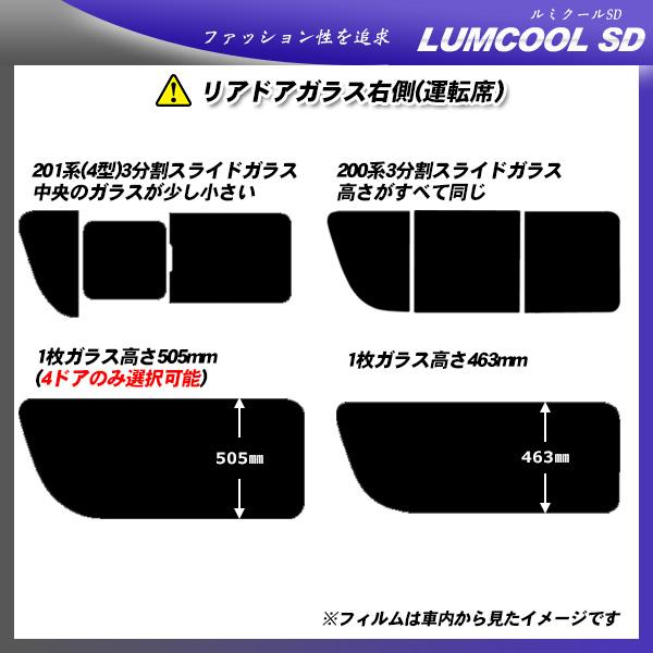 トヨタ ハイエース ミドルルーフ (KRH210/KRH214) ルミクールSD 熱整形済み一枚貼りあり カット済みカーフィルム リアセット