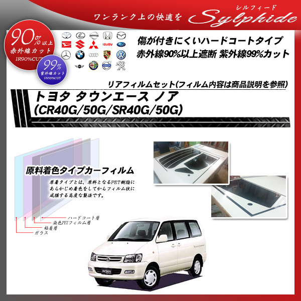 トヨタ タウンエース ノア (CR40G/50G/SR40G/50G) シルフィード カーフィルム カット済み UVカット リアセット スモークの詳細を見る